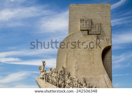 View of the historical Monument to the Discoveries, located in Lisbon, Portugal. - stock photo