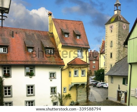 View of the historical part of Lindau and ancient tower of the Church of St. Peter. Bavaria, Germany - stock photo