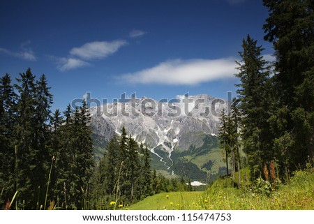 View of the Hochkoenig Mountains in the Austrian Alps from Muehlbach