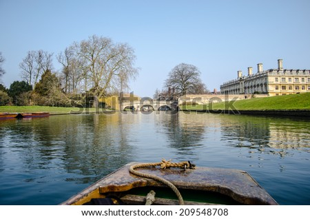 View of the hostel at Cambridge University from the punt on the River Cam - stock photo