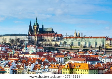 view of the hradcany panorama in prague dominated by famous prague castle. - stock photo