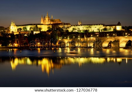 View of the Hradcany (Prague), Cathedral of St. Vitus at night.