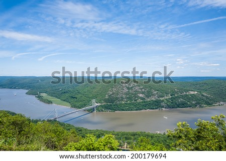 View of the Hudson River taken from Bear Mountain. - stock photo