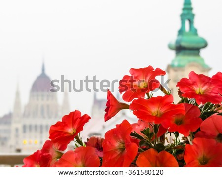 View of the Hungarian Parliament as blurred background, Budapest, Hungary - stock photo