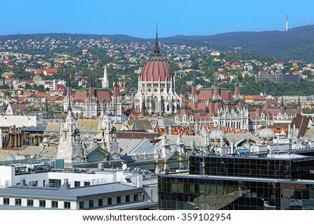View of the Hungarian Parliament Building from the dome of St. Stephen's Basilica in Budapest, Hungary - stock photo
