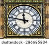 View of the Iconic Clock Face of Big Ben at the Houses of Parliament in Westminster London - stock photo