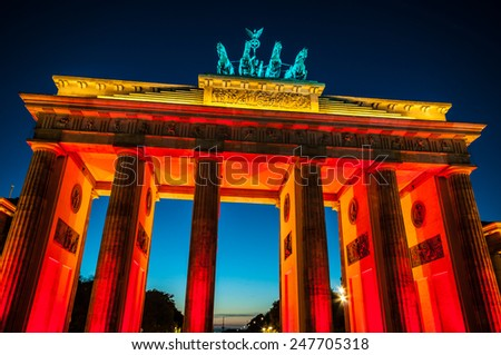 view of the illuminated Brandenburg Gate in Berlin