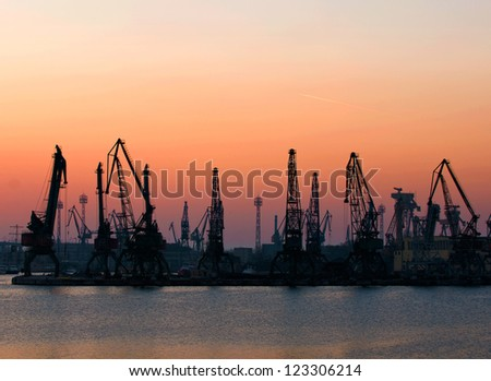 View of the industrial area with cranes.Port Varna - stock photo