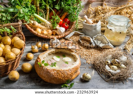 View of the ingredients for homemade sour soup - stock photo