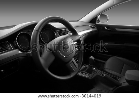 View of the interior of a modern automobile showing the dashboard - stock photo