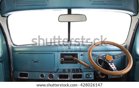 View of the interior of a retro car