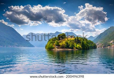 View of the island Comacina on Lake Como. Alps, Italy. - stock photo