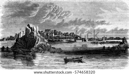 View of the island of Brehat, Port Clos outlet, vintage engraved illustration. Magasin Pittoresque 1845.
