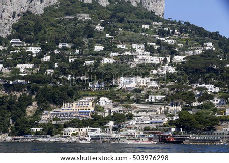 view of the Island of Capri, with colorful buildings, a major tourist destination near Naples and Sorrento on the Tyrrhenian Sea, Bay (Gulf) of Naples.