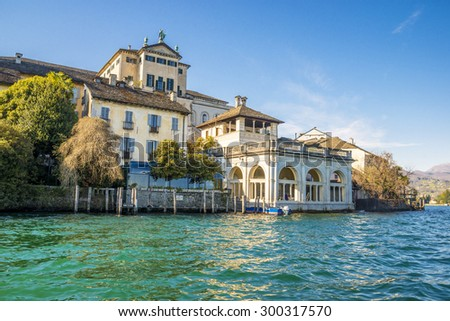View of the island of San Giulio in Lake Orta in Italy - stock photo