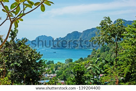 View of the island  Phi Phi Don  from the viewing point,  South of Thailand.