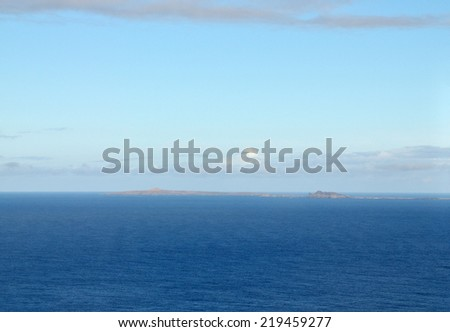 View of the islet of Djeu near sister islands Fogo and Brava part of the archipelago of Cabo Verde