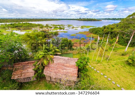 View of the Javari River in the Amazon rain forest in Brazil - stock photo