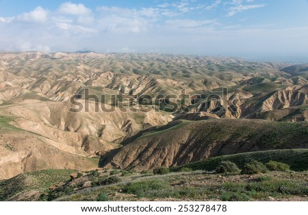 view of the Judean desert in winter. west bank, Israel - stock photo