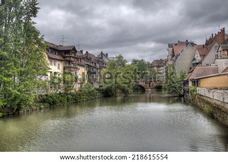View of the Karlsbrucke across the Pegnitz river in Nuremberg, Germany - stock photo