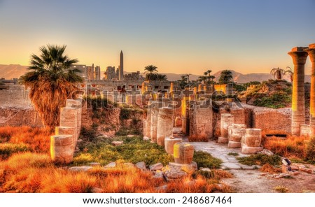 View of the Karnak temple in the evening - Luxor, Egypt - stock photo