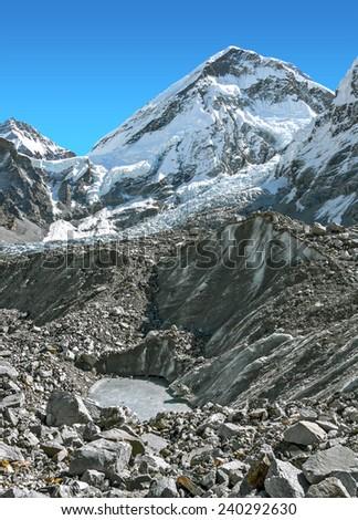 View of the Khumbutse (6639 m) from Khumbu glacier near EBC - Nepal, Himalayas - stock photo