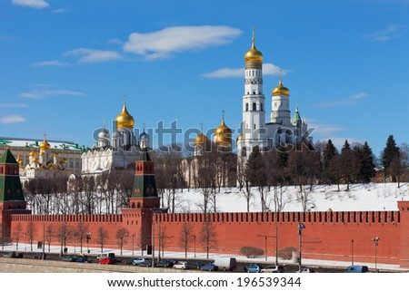 View of the Kremlin in Moscow in the sunny winter day - stock photo