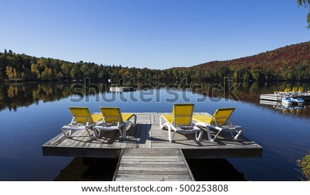 view of the Lac-Superieur, in Laurentides, Mont-tremblant, Quebec, Canada