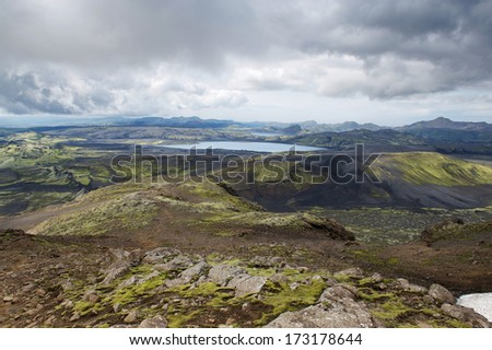 View of the Lakagigar with lakes and rocks on a cloudy day, Iceland - stock photo