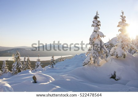 View of the lake from mountain range Zyuratkul, winter landscape. Snow covered spruces