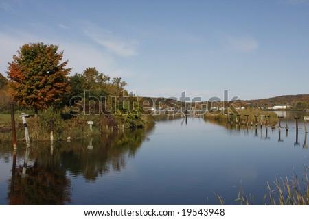 View of the lake in Elberta, Michigan - stock photo