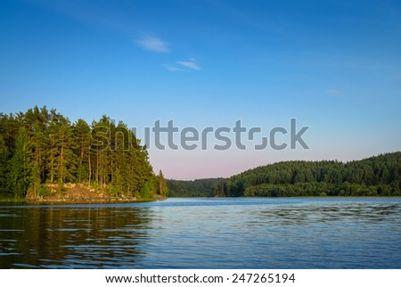 view of the lake in summer - stock photo