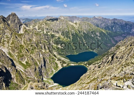 View of the lake in the valley of the  Sea  eye and the Black pond in Polish mountains, Tatras