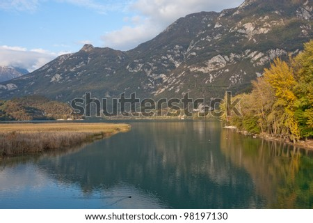 View of the lake of Cavazzo, Italy - stock photo