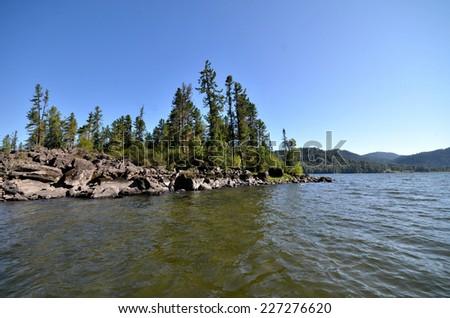 View of the lake Teletskoye. Russia, Altai Republic - stock photo