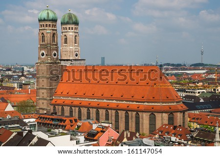 View of the late gothic Cathedral of Our Dear Lady (Frauenkirche) in Munich - stock photo