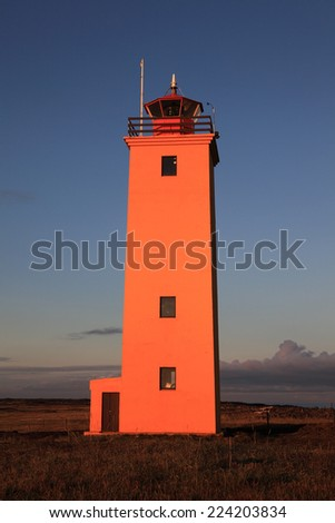 View of the lighthouse in Iceland - stock photo