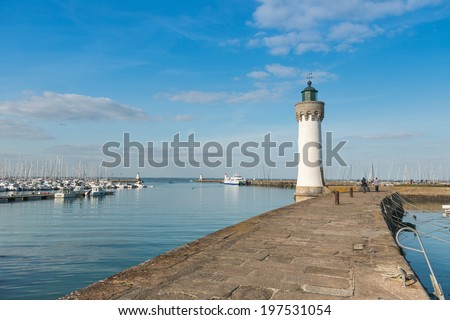 View of the lighthouse in Quiberon, Brittany, France - stock photo