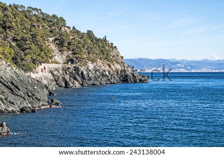 View of the Ligurian coastline and of the old railway