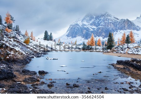 View of the Limides Lake and Mount Lagazuoi, Dolomites - Italy - stock photo
