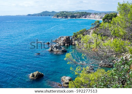 View of the Lloret de mar coast and the castle in Girona, Catalonia, Spain