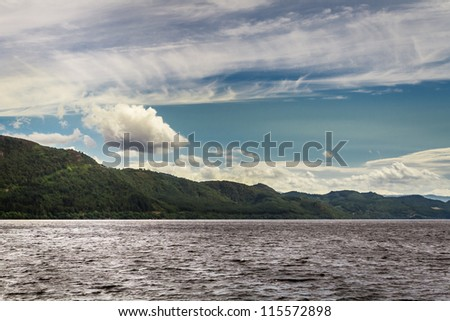 View of the Loch Ness in Scotland in the summer - stock photo