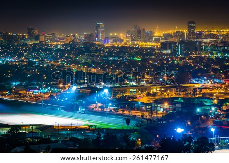 View of the Long Beach skyline at night, from Hilltop Park, in Signal Hill, Long Beach, California.