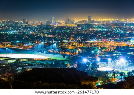 View of the Long Beach skyline at night, from Hilltop Park, in Signal Hill, Long Beach, California. - stock photo