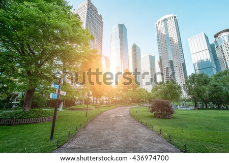 view of the lujiazui financial centre in shanghai china. - stock photo