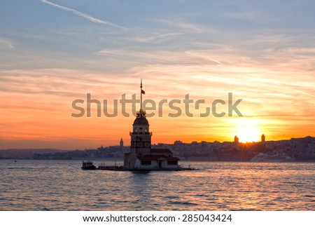 View of the Maiden tower on a sunset, Istanbul - stock photo