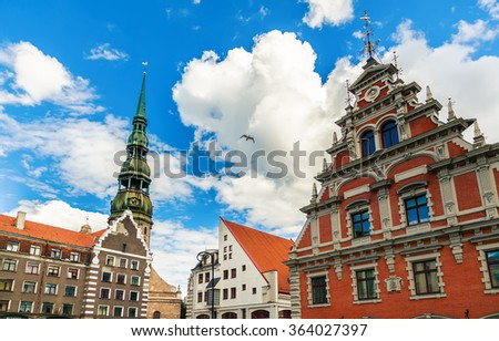 view of the main buildings at the City Hall Square in Riga, Latvia