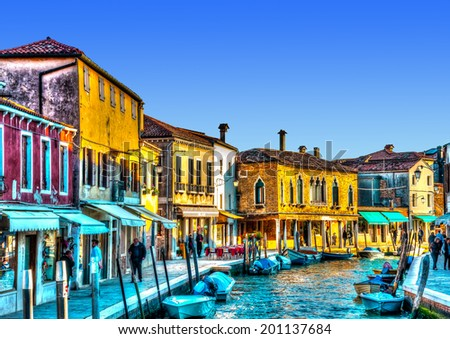 view of the Main Canal at Murano island near Venice Italy. HDR processed - stock photo