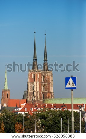 view of the main Catholic church in the old European city. Wroclaw, Poland