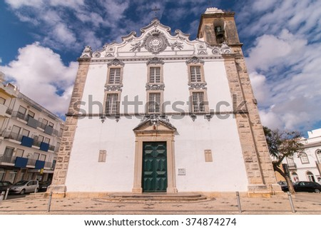 View of the main church of the city of Olhao, Portugal. - stock photo